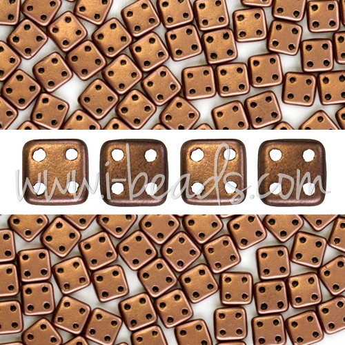 Perles 4 trous CzechMates QuadraTile 6mm Matte Metallic Bronze Copper (10g) - LaMercerieDesCopines