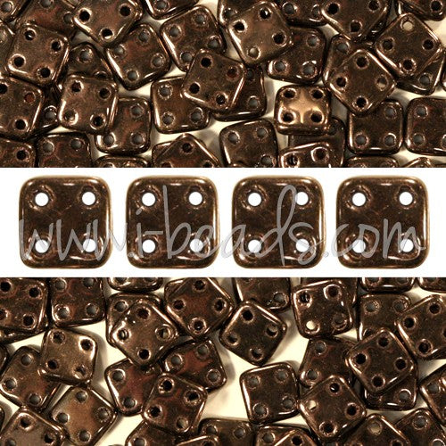 Perles 4 trous CzechMates QuadraTile 6mm Dark Bronze (10g) - LaMercerieDesCopines