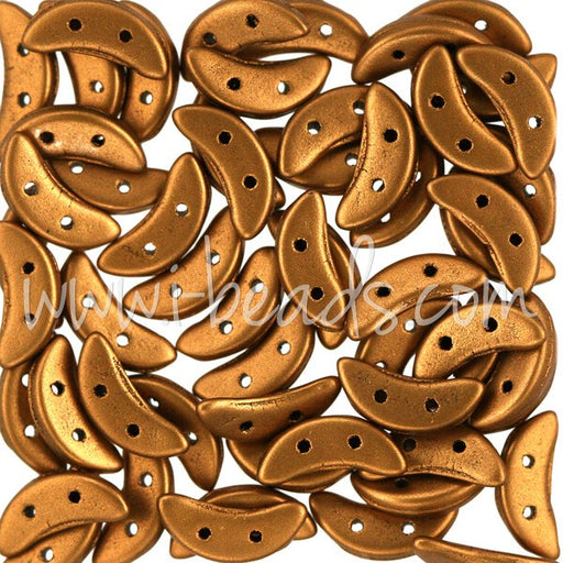 Perles 2 trous CzechMates Crescent 3x10mm matte metallic antique gold (5g) - LaMercerieDesCopines