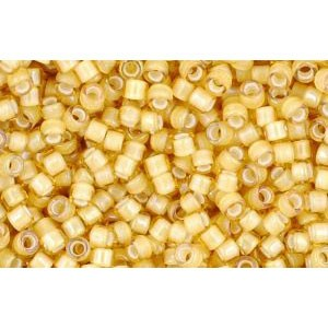 cc948 - perles Toho treasure 11/0 inside colour jonquil/white lined (5g) - LaMercerieDesCopines