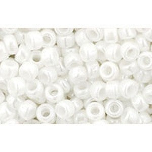 cc121 - perles de rocaille 8/0 opaque lustered white (10g) - LaMercerieDesCopines