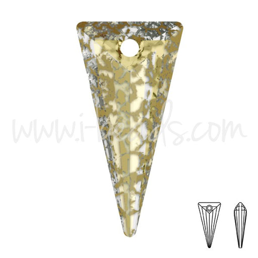 Pendentif Swarovski 6480 spike Crystal Gold patina effect 18mm (1) - LaMercerieDesCopines