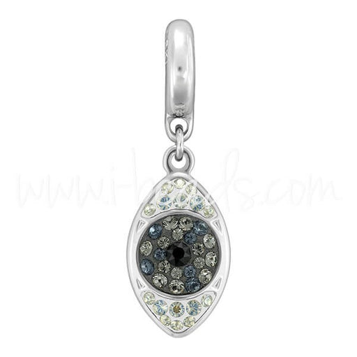 Swarovski 86564 BeCharmed pavé eye charm 14mm rhodium jet hematite-black diamond (1) - LaMercerieDesCopines