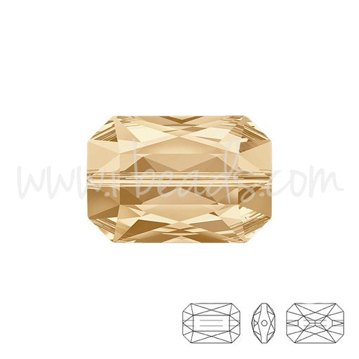 Perle Swarovski 5515 Emerald cut crystal golden shadow 14x9.5mm (1) - LaMercerieDesCopines