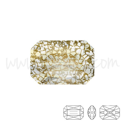 Perle Swarovski 5515 Emerald cut crystal gold patina 14x9.5mm (1) - LaMercerieDesCopines