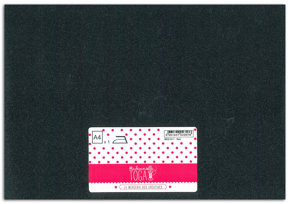 feuille glitter thermocollant A4 noir - Mademoiselle TOGA - LaMercerieDesCopines