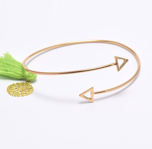 Bracelet Jonc triangle en metal plaqué or 18 k . Bangle sans nickel ajustable à personnaliser - LaMercerieDesCopines