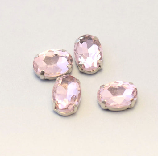 perles strass sertis x4 ovale rose clair pastel 14x10mm à coudre ou coller - Strass en verre - LaMercerieDesCopines