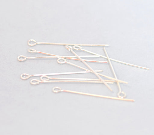 clous à oeil x100 - tiges eye pins argentée - 38mm - apprêt bijoux - LaMercerieDesCopines