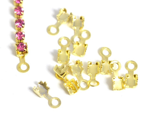 Vente embouts chaine strass dorée 2,5mm / 2mm x10pcs attaches chaines strass
