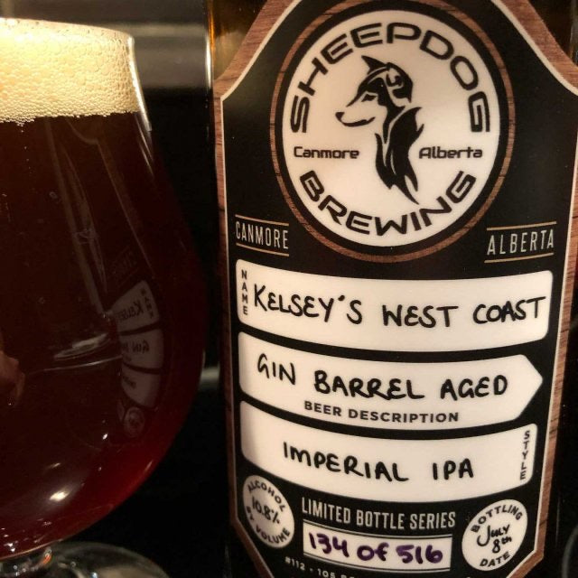 Sheepdog Brewing Kelsey's Imperial IPA Gin barrel aged