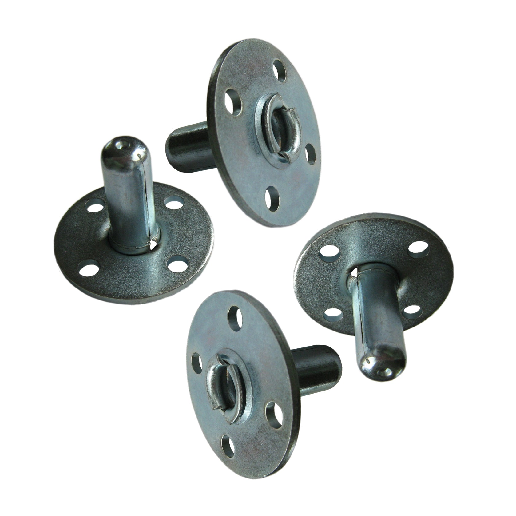 Photo shows set of four Broad-Brimmed Top Hat Caster Sockets. Also known as piano sockets.