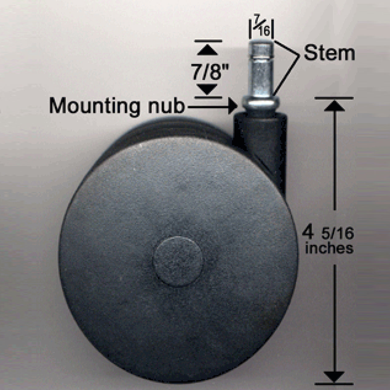 Photo shows Miracle Caster with measurements.