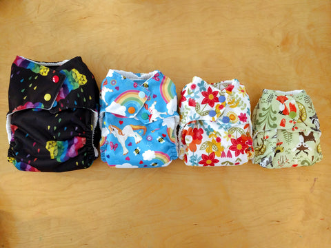 Dorybird Chickadee Cloth Diapers, WAHM sized all in one AIO, easy to use with quick dry bamboo hemp trifold insert. Perfect size and super absorbency from newborn to toddler! Made in USA