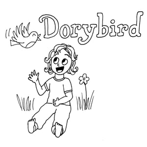 Dorybird logo baby girl in handmade childrens clothing comfy knit kids top and pants cloth diapers