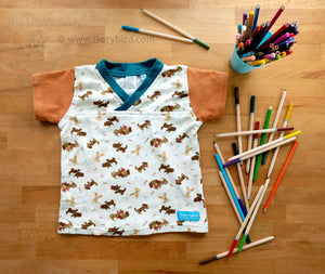 Easy-on 2T kids shirt -Woof woof! Puppies! play top- Handmade Toddler Dog Shirt- Puppies childrens tee -boy girl top -v neck -cute dogs pets -preschool gift -2nd birthday