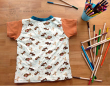Load image into Gallery viewer, Easy-on 2T kids shirt -Woof woof! Puppies! play top- Handmade Toddler Dog Shirt- Puppies childrens tee -boy girl top -v neck -cute dogs pets -preschool gift -2nd birthday