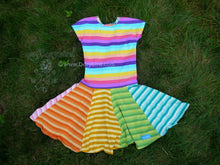 Load image into Gallery viewer, Rainbow Stripe Twirl Dress -3T girls rainbow dress- toddler twirl dress -handmade play dress - girls cotton knit dress -comfy soft -circle skirt
