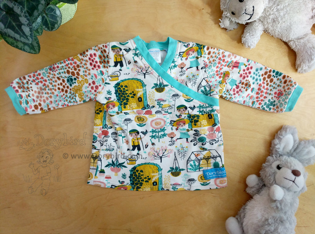 Easy On Baby Top -Baby Garden Shirt -6 mos Baby Outfit -Floral Baby Outfit -Anne of Green Gables- baby shower gift -plants nature knit top