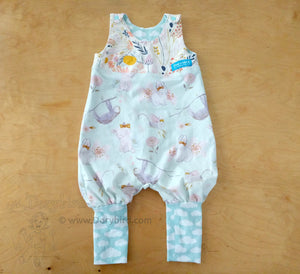 Baby Animals Baby Romper -size 6 months -Baby Overalls -Bubble Romper -Sloth Bunny Kitten Mice -Spring Easter Outfit -Floral Jumper -Pastel Clouds