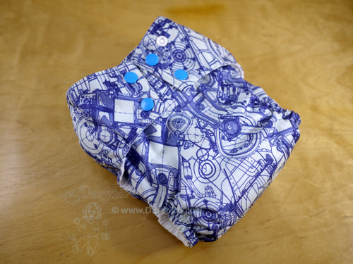 nerdy cloth diaper, Chickadee Large cloth diaper, engine blueprints, engineer, designer, math science geek, builder, doctor who, made in USA, WAHM all in one, toddler night diaper