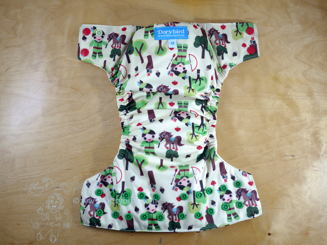 Robin Hood cloth diaper, WAHM medium bamboo hemp all in one AIO, made in USA, Chickadee cloth diapers, Dorybird