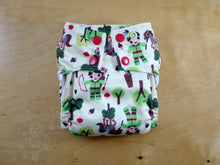 Load image into Gallery viewer, Robin Hood Medium Cloth Diaper (14-26 lbs) -Chickadee Cloth Diapers -all in one -forest fairy tale -green apple horse woodland tree kawaii -made in USA -bamboo hemp