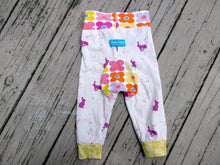 Load image into Gallery viewer, Bunny Cloth Diaper Pants - 6 months Baby Pants -Pink Floral Baby Pants -pink Easter bunny Spring pants -baby joggers -baby shower gift -newborn outfit