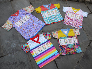 Easy-on 3T kid shirt -LOVE toddler shirt -comfy toddler top -cloud floral top -rainbow stripe- crossover v neck -cotton baby top -3rd birthday gift