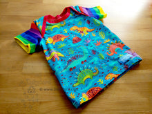 Load image into Gallery viewer, Dinosaur Rainbow baby top, Dorybird handmade chidlren's clothing, baby clothes, soft knit cotton lap tee, made in USA