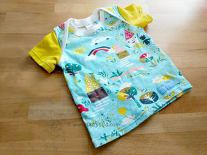 Dorybird baby top, happy town children's shirt, baby clothes, organic cotton baby top, stretchy knit lap tee, made in USA