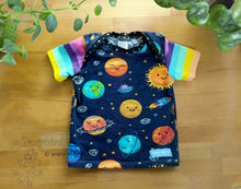 Load image into Gallery viewer, Planets Baby Top -12 months kids space shirt -stars -cute solar system -Dorybird baby shirt -rainbow stripes -cotton toddler tee -1st birthday gift -sky sun, handmade, made in USA