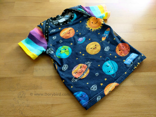 Space baby top, planets childrens' shirt, Dorybird handmade cotton knit kid top, made in USA