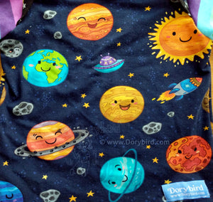 Planets Baby Top -12 months kids space shirt -stars -cute solar system -Dorybird baby shirt -rainbow stripes -cotton toddler tee -1st birthday gift -sky sun, handmade, made in USA