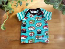 Load image into Gallery viewer, Sushi Baby Top -12 months kids lap tee -kawaii sushi baby shirt -aqua stripes -teal toddler tee -1st birthday gift -Japan cute soft cotton knit
