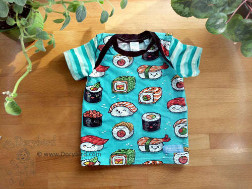 Sushi Baby Top -12 months kids lap tee -kawaii sushi baby shirt -aqua stripes -teal toddler tee -1st birthday gift -Japan cute soft cotton knit