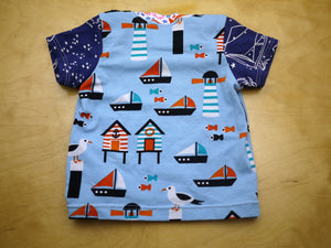 Seagull Lighthouse Baby Top -Nautical Baby Top 6 months -Kid Top -Beach Baby Shirt -Sailboats Stars Ocean -baby shower gift -Constellations