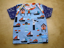 Load image into Gallery viewer, Seagull Lighthouse Baby Top -Nautical Baby Top 6 months -Kid Top -Beach Baby Shirt -Sailboats Stars Ocean -baby shower gift -Constellations