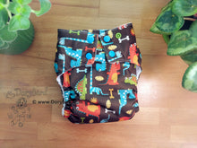 Load image into Gallery viewer, Dinosaur Cloth Diaper -Dino Party -Chickadee Large Cloth Diaper (22-35+ lbs) -toddler diaper -dinosaur AIO -T rex stegosaurus -jurassic fossil -WAHM modern cloth -hemp bamboo