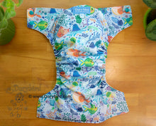 Load image into Gallery viewer, Kissy Fish Large Cloth Diaper (22-35+ lbs) -Chickadee WAHM toddler diaper -toddler AIO -beach sea life -nautical birthday gift -all in one -hemp bamboo