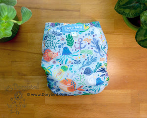 Kissy Fish Large Cloth Diaper (22-35+ lbs) -Chickadee WAHM toddler diaper -toddler AIO -beach sea life -nautical birthday gift -all in one -hemp bamboo