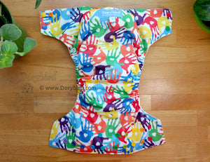 Rainbow Handprints Cloth Diaper -Large Chickadee Cloth Diaper (22-35+ lbs.) -paint handprint art -finger painting -WAHM all in one -hemp bamboo -toddler AIO -made in USA