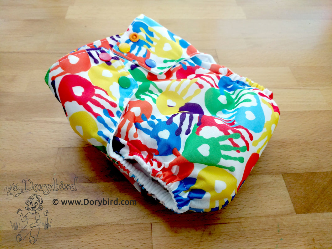 Rainbow cloth diaper, rainbow baby, Chickadee cloth diapers, sized Large cloth diaper, made in USA, messy hands handprint, finger painting