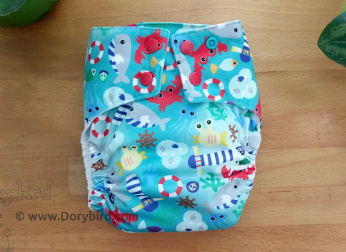ocean cloth diaper, nautical all in one, bamboo hemp AIO diaper, toddler overnight CD, WAHM Chickadee cloth, made in USA, Dorybird