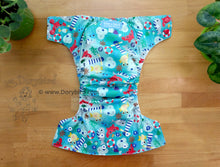 Load image into Gallery viewer, Ocean Friends Cloth Diaper -Large Chickadee Cloth Diaper (22-35+ lbs.) -WAHM daycare diaper -AIO -beach sea life -nautical birthday gift -all in one -hemp bamboo -made in USA