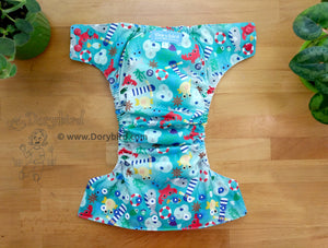 Ocean Friends Cloth Diaper -Large Chickadee Cloth Diaper (22-35+ lbs.) -WAHM daycare diaper -AIO -beach sea life -nautical birthday gift -all in one -hemp bamboo -made in USA
