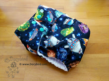 Load image into Gallery viewer, Chickadee cloth diapers, space cloth diaper, stars planets toddler diaper, overnight cloth diaper, bamboo hemp AIO, made in USA