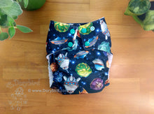 Load image into Gallery viewer, Space Travel Cloth Diaper, Chickadee Large (22-35+ lbs) -toddler diaper -AIO -galaxy solar system planets rockets UFO comet -modern cloth -hemp bamboo