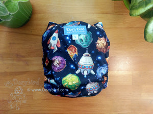 Space Travel Cloth Diaper, Chickadee Large (22-35+ lbs) -toddler diaper -AIO -galaxy solar system planets rockets UFO comet -modern cloth -hemp bamboo