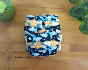 Sun Moon Stars Cloth Diaper -Chickadee Large -WAHM toddler AIO -celestial space -starry night sky -cloud dream all in one -hemp bamboo modern cloth -Made in USA